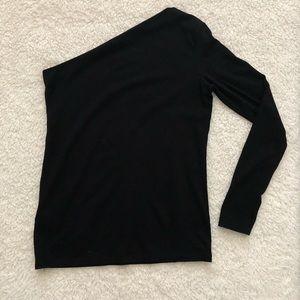 Black long sleeved one shoulder blouse